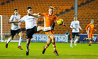 Blackpool's Owen Watkinson is tackled by Derby County's Eiran Cashin<br /> <br /> Photographer Alex Dodd/CameraSport<br /> <br /> The FA Youth Cup Third Round - Blackpool U18 v Derby County U18 - Tuesday 4th December 2018 - Bloomfield Road - Blackpool<br />  <br /> World Copyright © 2018 CameraSport. All rights reserved. 43 Linden Ave. Countesthorpe. Leicester. England. LE8 5PG - Tel: +44 (0) 116 277 4147 - admin@camerasport.com - www.camerasport.com