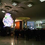 """""""Elezioni subito"""" manifestazione organizzata al teatro Manzoni da Giuliano Ferrara comntro il governo Monti..Mutande appese ad un lampadario, simbolo delle iniziative politiche di Ferrara"""