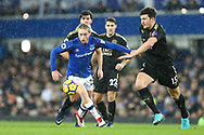 Tom Davies of Everton gets away from Harry Maguire of Leicester City (r). Premier league match, Everton v Leicester City at Goodison Park in Liverpool, Merseyside on Wednesday 31st January 2018.<br /> pic by Chris Stading, Andrew Orchard sports photography.