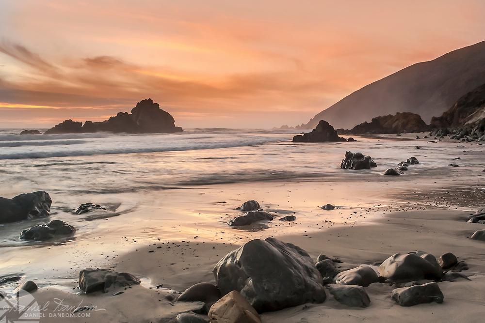 Pfeiffer Beach, Big Sur, California Highway 1 at sunset.