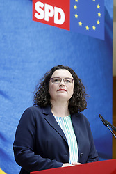 Germany, Berlin - May 27, 2019.The chief of the German SPD party Andrea Nahles..Press conference after the European elections results /  Willi-Brandt-Haus Berlin Monday May 27, 2019 (Credit Image: © Darmer/Davids/Ropi via ZUMA Press)