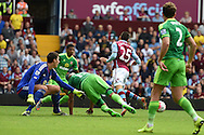 Aston Villa 's Carles Gil (25) is fouled in the penalty area by Younes Kaboul of Sunderland (15) but no penalty is given and Carles Gil is booked by referee Robert Madley for diving. Barclays Premier League match, Aston Villa v Sunderland at Villa Park in Birmingham, Midlands on Saturday 29th August  2015.<br /> pic by Andrew Orchard, Andrew Orchard sports photography.