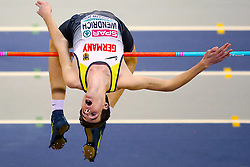 Germany's Falk Wendrich competes in the Men's High Jump qualifying during day one of the European Indoor Athletics Championships at the Emirates Arena, Glasgow.