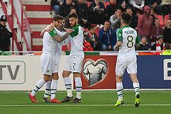 Republic of Ireland's Jeff Hendrick (left) celebrates scoring his side's first goal of the game with team mates during the UEFA Euro 2020 Qualifying, Group D match at the Victoria Stadium, Gibraltar.