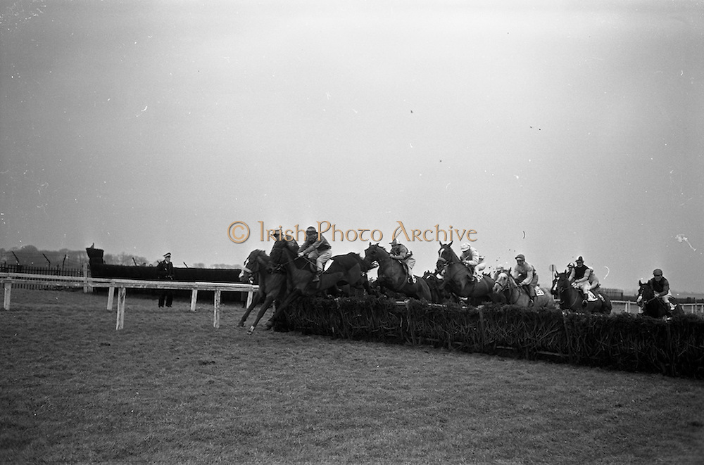 16/02/1963<br /> 02/16/1963<br /> 16 February 1963<br /> Horse Racing at Baldoyle racecourse, Dublin. Picture shows a large field clearing a hurdle in the Balgriffin Handicap Hurdle at Baldoyle.