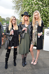 Left to right, SOPHIE YOUNG, EMILY STEEL and STEPHANIE RAD at a party to launch the Taylor Morris Explorer Collection held at the Serpentine Lido, Hyde Park, London on 11th May 2016.
