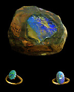 Rainbow jewels.  This jewellery is made from Australian precious opals.  The stones are cut in a rounded style, which shows off their play of colour to best effect.  Precious opals with a dark background are called black opals, while the stones with a pale background are called white opals.