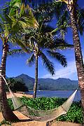 Hammock, Hanalei Bay, Kauai, Hawaii, USA<br />