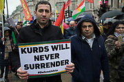Members of the British Kurdish community demonstrate in central London against the Turkish offensive in the Afrin region of Syria, and call for the UK government to take action and not support arms sales to Turkey on 27th January 2018 in London, United Kingdom.
