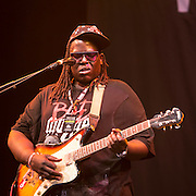 Dave Okumu & The Invisible (UK) performing in the Siam tent. WOMAD 2014, festival of world music and dance, Charlton Park, Wiltshire. UK.