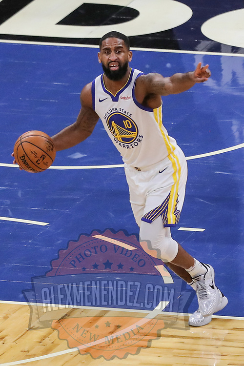 ORLANDO, FL - FEBRUARY 19:  Brad Wanamaker #10 of the Golden State Warriors controls the ball against Orlando Magic during the second half at Amway Center on February 19, 2021 in Orlando, Florida. NOTE TO USER: User expressly acknowledges and agrees that, by downloading and or using this photograph, User is consenting to the terms and conditions of the Getty Images License Agreement. (Photo by Alex Menendez/Getty Images)*** Local Caption *** Brad Wanamaker