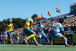 (L-R) Matthew Swann of Australia, Tim Brand of Australia, Dilpreet Singh of India, Vivek Prasad of India during the Champions Trophy finale between the Australia and India on the fields of BH&BC Breda on Juli 1, 2018 in Breda, the Netherlands.