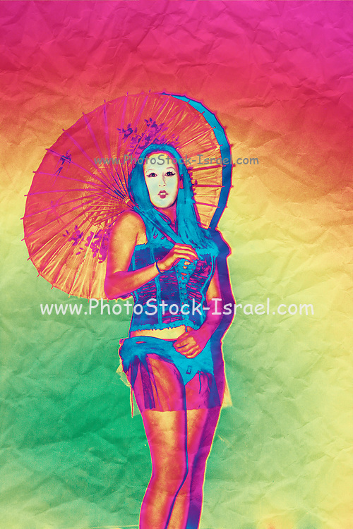 Digitally enhanced image of a female model in her 20s dressed as a Japanese with white make up and parasol