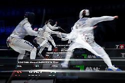 WUXI, July 27, 2018  This multi-exposed picture shows Alessio Foconi (L) of Italy fighting against Race Imboden of the US during the men's foil team final between Italy and the United States at the Fencing World Championships in Wuxi, east China's Jiangsu Province, July 27, 2018. Italy beat US 45-34 and claimed the title of the event. (Credit Image: © Li Bo/Xinhua via ZUMA Wire)