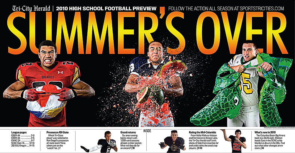 Cover for the Tri-City Herald's 2010 High School Football preview. The cover is a composite of three photos I shot. Cover design by Jeremy Dutton.
