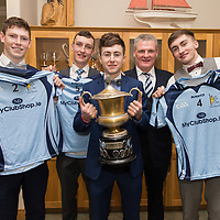 Cooraclare Minor Football Players Sean O'Donoghue, Sean O'Neill, Donal Grady, and Cillian Burke with Team Manager, Martin Morrissey