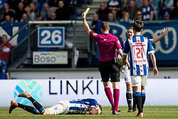(L-R)  Daniel Hoegh of sc Heerenveen, referee Pol van Boekel during the Dutch Eredivisie match between sc Heerenveen and FC Groningen at Abe Lenstra Stadium on April 08, 2018 in Heerenveen, The Netherlands