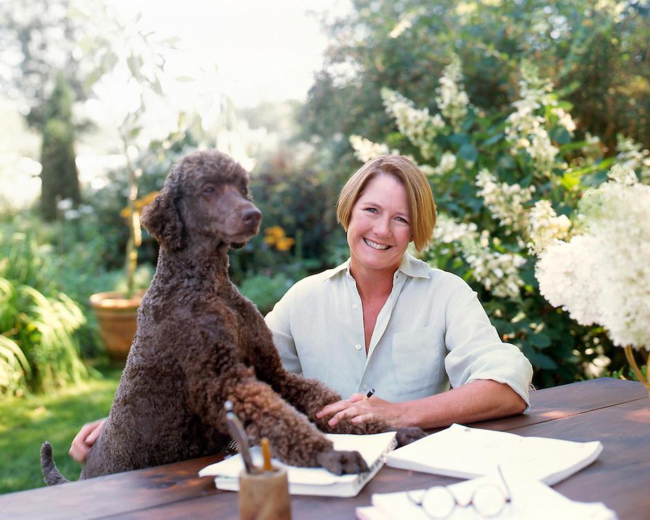 writer at home in garden