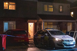 © Licensed to London News Pictures. 27/01/2020. Slough, UK. A Police car forms a cordon outside a house after Thames Valley Police responded to an incident in Slough, unconfirmed reports of a 'stabbing' and 'acid attack' centred around the dwelling on a quiet street in the area. Photo credit: Peter Manning/LNP