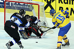 20.04.2016, Dom Sportova, Zagreb, CRO, IIHF WM, Ukraine vs Estland, Division I, Gruppe B, im Bild Andrei Lukin, Sergi Babynets, Daniil Seppenen // during the 2016 IIHF Ice Hockey World Championship, Division I, Group B, match between Ukraine and Estonia at the Dom Sportova in Zagreb, Croatia on 2016/04/20. EXPA Pictures © 2016, PhotoCredit: EXPA/ Pixsell/ Goran Stanzl<br /> <br /> *****ATTENTION - for AUT, SLO, SUI, SWE, ITA, FRA only*****