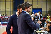 Edoardo Casalone, Gianmarco Pozzecco<br /> Vanoli Cremona - Banco di Sardegna Dinamo Sassari<br /> Semifinale Zurich Connect Supercoppa LBA 2019<br /> Bari, 21/09/2019<br /> Foto L.Canu / Ciamillo-Castoria