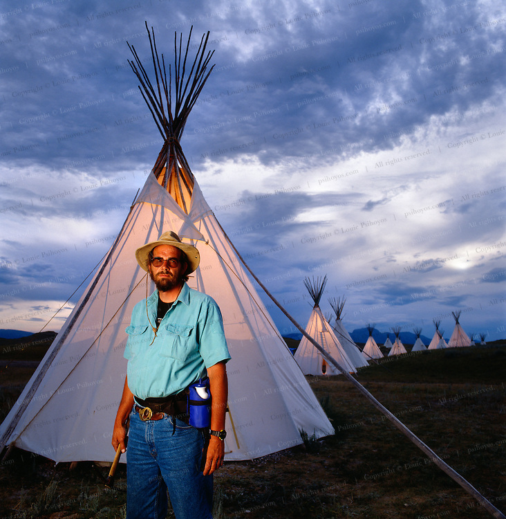 Paleontologist Jack Horner at Dinosaur Field Station near Choteau, Montana where teepees hold up better to the strong mountain winds than traditional tents.  Jack was the inspiration for Jurassic Park.