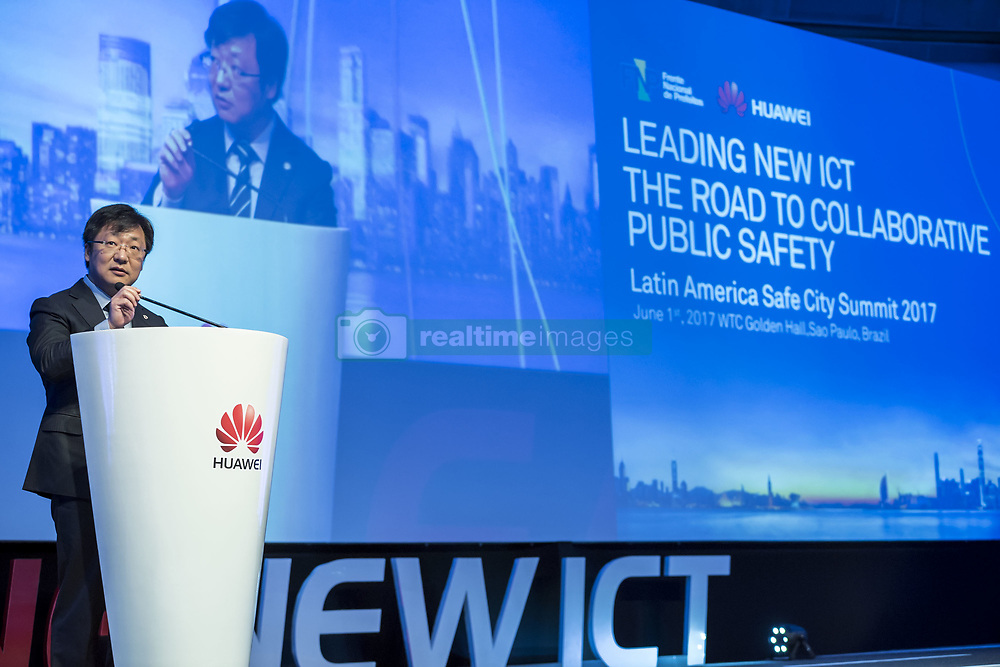 June 1, 2017 - Sao Paulo, Sao Paulo, Brazil - Jun 1, 2017 - Sao Paulo, Sao Paulo, Brazil - Huawei Public Security Area President Siyong Fan participated in the opening of the 2017 Latin America Safe City Summit organized by the company at the World Trade Center Convention Center in the southern part of the city of Sao Paulo. (Credit Image: © Marcelo Chello/CJPress via ZUMA Wire)