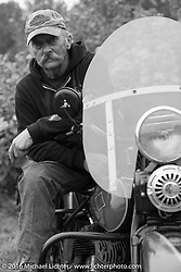 Kenney Sweeney on his 1934 Harley-Davidson VLD after Stage 7 of the Motorcycle Cannonball Cross-Country Endurance Run, which on this day ran from Sedalia, MO to Junction City, KS., USA. Thursday, September 11, 2014.  Photography ©2014 Michael Lichter.