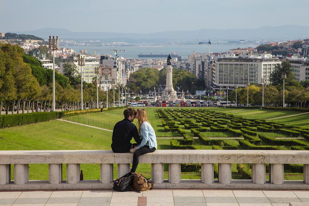 Lisbon view from the top o Eduardo VII Park