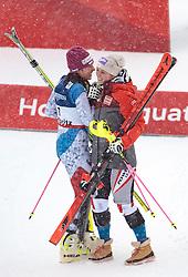 10.02.2017, St. Moritz, SUI, FIS Weltmeisterschaften Ski Alpin, St. Moritz 2017, alpine Kombination, Damen, Siegerpräsentation, im Bild v.l. Wendy Holdener (SUI, Weltmeister und Goldmedaille Alpine Kombination der Damen), Michaela Kirchgasser (AUT, Bronzemedaille Alpine Kombination der Damen) // f.l. ladie's Alpin Combined Goldmedalist and World Champion Wendy Holdener of Switzerland ladie's Alpin Combined bronze medalist Michaela Kirchgasser of Austria during the winnerpresentation for the ladie's Alpine combination of the FIS Ski World Championships 2017. St. Moritz, Switzerland on 2017/02/10. EXPA Pictures © 2017, PhotoCredit: EXPA/ Johann Groder