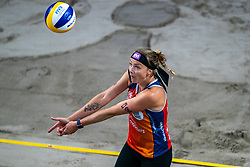 Madelein Meppelink in action during the last day of the beach volleyball event King of the Court at Jaarbeursplein on September 12, 2020 in Utrecht.
