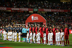 March 22, 2019 - Lisbon, Portugal - Portugal's and Ukraine's line up teams before the UEFA EURO 2020 group B qualifying football match Portugal vs Ukraine, at the Luz Stadium in Lisbon, Portugal, on March 22, 2019. (Credit Image: © Pedro Fiuza/NurPhoto via ZUMA Press)