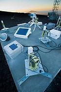 An array of NASA sun photometers at the Mauna Loa Observatory, HIlo, Hawaii.