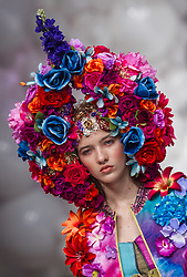 November 3, 2018 - Budapest, Hungary - Model presents a creation by Hungarian designer Virág Kerényi as part of Marie Claire Fashion Days 2018 on Nov 3, 2018 at Millenáris in Budapest, Hungary. (Credit Image: © Robert Szaniszlo/NurPhoto via ZUMA Press)