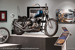 Roadside Marty Davis' 1946 Harley-Davidson custom Kucklehead in Michael Lichter's Skin & Bones tattoo inspired Motorcycles as Art Exhibition at the Buffalo Chip Gallery during the annual Sturgis Black Hills Motorcycle Rally. SD, USA. August 10, 2016. Photography ©2016 Michael Lichter.