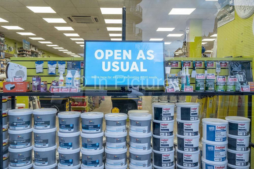 As Covid restrictions continue in England, a DIY decorating business remains open as usual in Clapham High Street during the third lockdown of the Coronavirus pandemic, on 29th January 2021, in London, England.