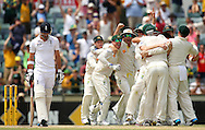 PERTH, AUSTRALIA - DECEMBER 17: Australian players celebrate dismissing James Anderson of England to claim a 3-0 series win on day five of the Third Ashes Test Match between Australia and England at the WACA on December 17, 2013 in Perth, Australia.  (Photo by Paul Kane/Getty Images)