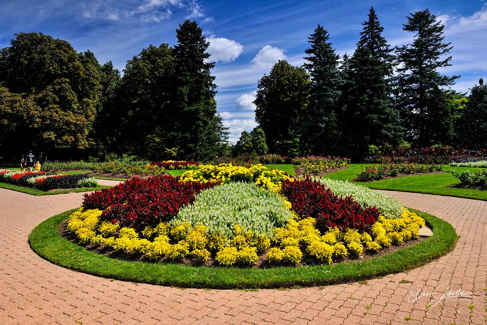 Flower beds in the Niagara Botanical Garden- Rose Garden area, Niagara Falls, Ontario, Canada