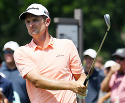 May 26, 2018 - Fort Worth, TX, USA - Justin Rose watches his tee shot playing the 10th hole during the third round of the Fort Worth Invitational PGA tournament Saturday May 26, 2018 at the Colonial Country Club Saturday May 26, 2018 in Fort Worth, Texas. (Credit Image: © Bob Booth/TNS via ZUMA Wire)