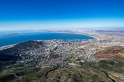 February 15, 2017 - Cape Town, Western Cape, South Africa - The City Bowl of Cape Town, South Africa, as seen from the top of Table Mountain (Credit Image: © Edwin Remsberg / Vwpics/VW Pics via ZUMA Wire)