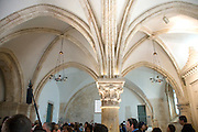 Israel, Jerusalem, Mount Zion, Interior of the Room of the Last Supper (Coenaculum) with arched ceiling