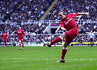 Photo. Glyn Thomas.<br /> Newcastle United v Middlesbrough. Premiership.<br /> St James' Park, Newcastle. 21/02/2004.<br /> Boro's Bolo Zenden scores to put his side a goal up in the derby in the first half.