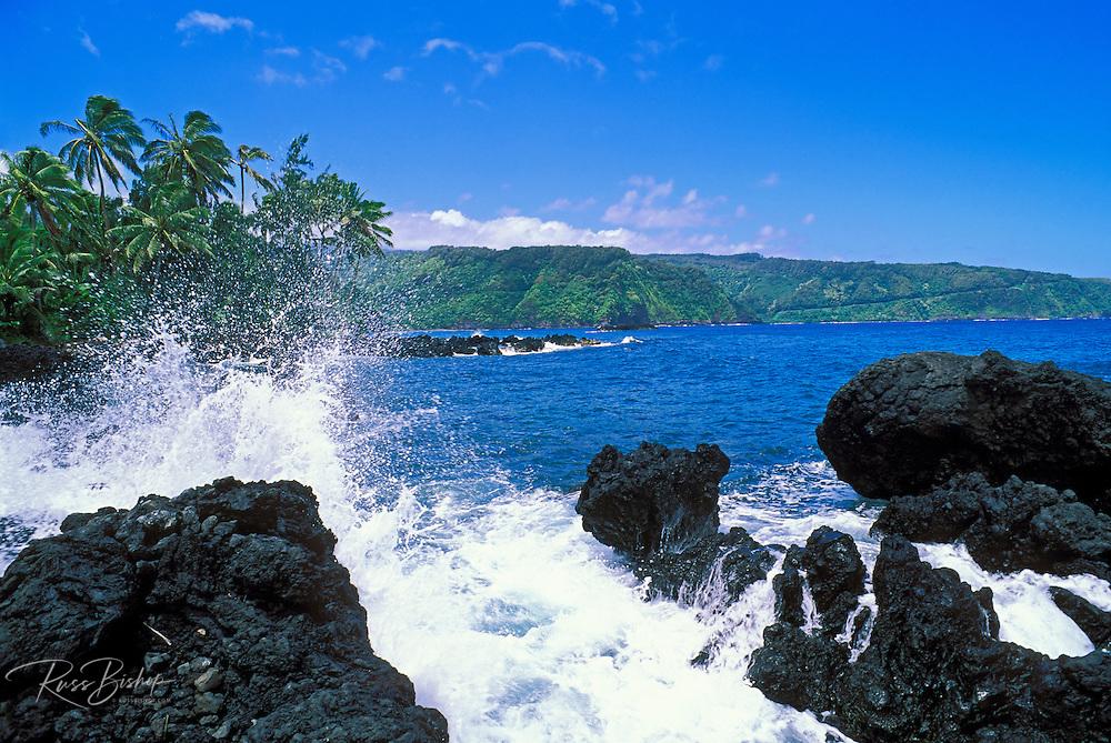 The Hana Highway and Pacific coastline from Ke'anae Peninsula, Maui, Hawaii