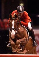 Rikstoto Grand Prix, Oslo Horse Show, Oslo Spektrum 19.10.02 <br />Saturday, October 19th 2002. DENVER 117 \ Rene TEBBEL (GER)<br />Foto: Geir Egil Skog, Digitalsport