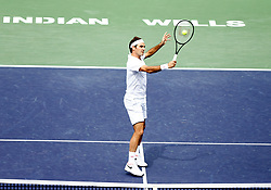 March 10, 2019 - Indian Wells, CA, U.S. - INDIAN WELLS, CA - MARCH 10: Roger Federer (SUI) hits a volley during the second round of the BNP Paribas Open on March 10, 2019, at the Indian Wells Tennis Gardens in Indian Wells, CA. (Photo by Adam Davis/Icon Sportswire) (Credit Image: © Adam Davis/Icon SMI via ZUMA Press)