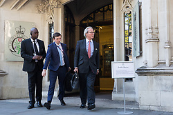 London, UK. 18 September, 2019. Lord Keen QC (r),  Advocate General for Scotland, acting on behalf of the Government, leaves the Supreme Court at the end of the second day of a hearing to consider whether the Prime Minister broke the law by suspending Parliament in advance of Brexit Day. The purpose of the hearing is to adjudicate as to which of two court rulings should prevail, either a ruling by the High Court that the suspension of Parliament is a political decision to be made by the Prime Minister or a ruling by the Scottish courts that the Prime Minister's actions in proroguing Parliament were unlawful. Credit: Mark Kerrison/Alamy Live News