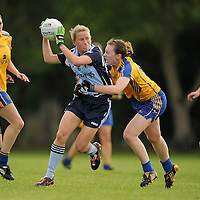 14 August 2010; Sorcha Furlong, Dublin, in action against Fiona Lafferty, Clare. TG4 Ladies Football All-Ireland Senior Championship Quarter-Final, Clare v Dublin, St Rynagh's, Banagher, Co. Offaly. Picture credit: Brendan Moran / SPORTSFILE *** NO REPRODUCTION FEE ***