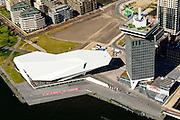 Nederland, Noord-Holland, Amsterdam-Noord, 01-08-2016; IJ-oevers, Overhoeks met A'DAM Toren (voormalige Shell-toren) en Eye filmmuseum,.<br /> Banks of IJ and Overhoeks with A'DAM Tower (former Shell Tower) and Eye Film Museum.<br /> <br /> luchtfoto (toeslag op standard tarieven);<br /> aerial photo (additional fee required);<br /> copyright foto/photo Siebe Swart