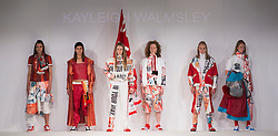 "© Licensed to London News Pictures. 31/05/2015. London, UK. A ""Don't Buy The Sun-Collection"" by Kayleigh Walmsley. Fashion show of the University of East London (UEL) at Graduate Fashion Week 2015. Graduate Fashion Week takes place from 30 May to 2 June 2015 at the Old Truman Brewery, Brick Lane. Photo credit : Bettina Strenske/LNP"