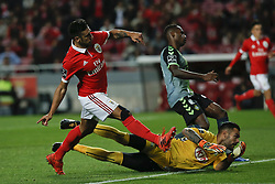 November 26, 2017 - Lisbon, Portugal - Benfica's forward Eduardo Salvio scores his team's third goal  during Primeira Liga 2017/18 match between SL Benfica vs Vitoria FC, in Lisbon, on November 26, 2017. (Credit Image: © Carlos Palma/NurPhoto via ZUMA Press)